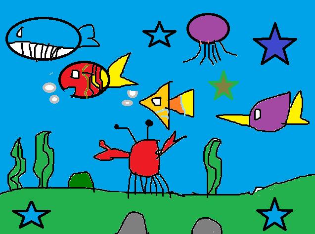 《海底世界》二六班电脑绘画作品图片