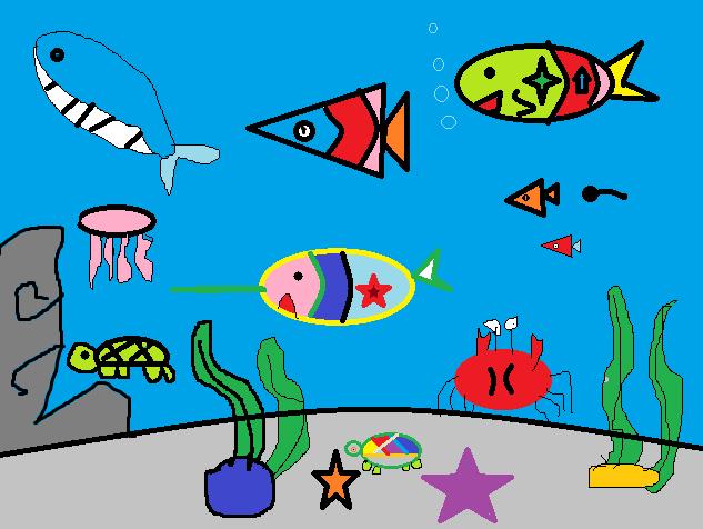 绘画作品海底世界-幼儿园海底世界简笔画_幼儿教师海洋世界绘画_海底