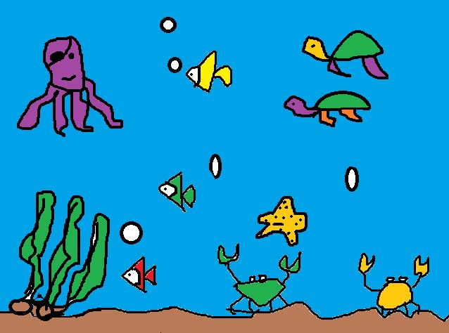 《海底世界》二三班电脑绘画作品-学生作品-孟津县