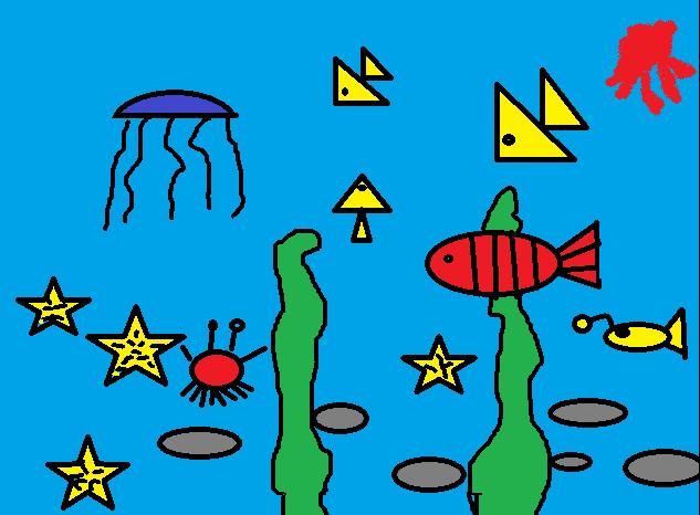 《海底世界》二三班电脑绘画作品
